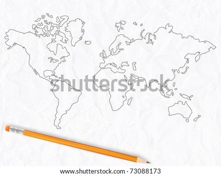 Sketch of world map with pencil - stock vector