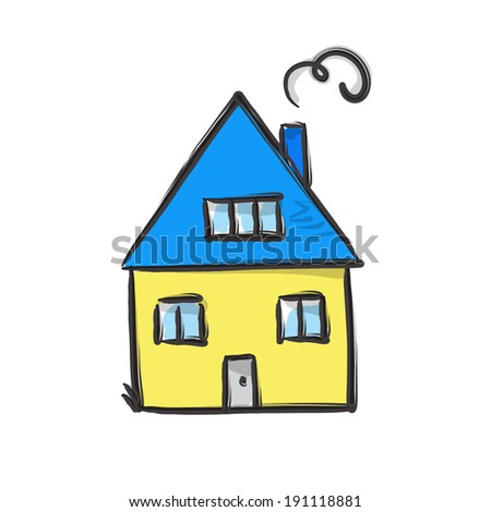 sketch of yellow and blue house  - stock vector