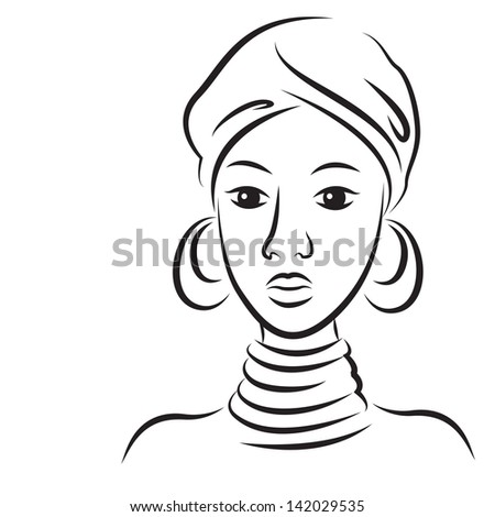 Sketch of young beautiful African woman. Vector illustration isolated on white background. - stock vector