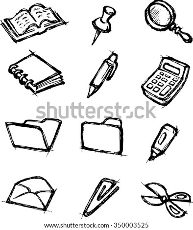 Sketch Office Icon Set-Hand drawn office supplies