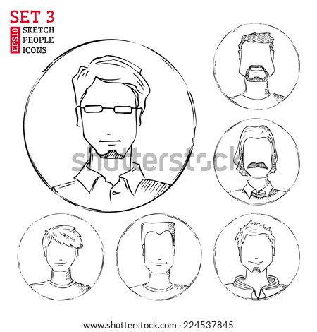 Sketch people icons. Men hand-drawn round avatars isolated on white background. - stock vector