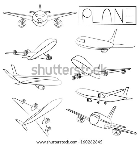 sketch plane icons, pencil line concept - stock vector
