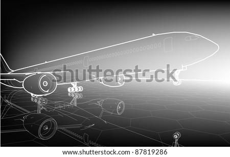 Sketch plane poster  - stock vector