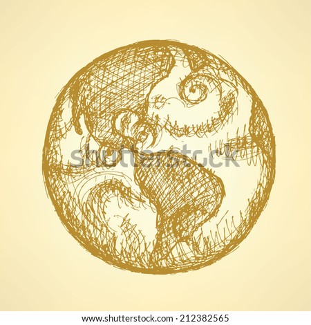 Sketch planet Earth in vintage style, background - stock vector
