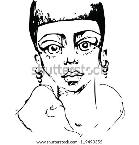 Sketch portrait of a girl's face - stock vector