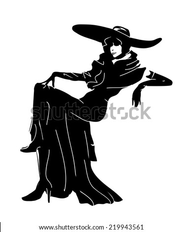 Sketch Pose - woman silhouette - stock vector