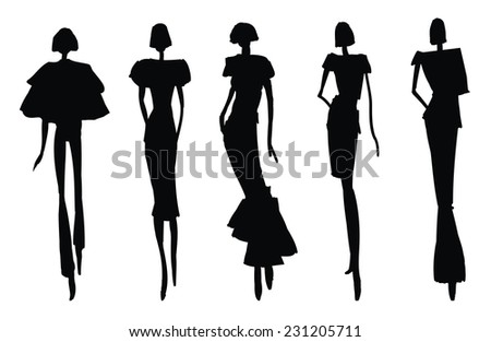 Sketch Poses - woman silhouettes - stock vector