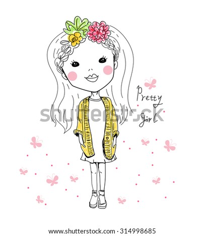 Sketch pretty girl - stock vector