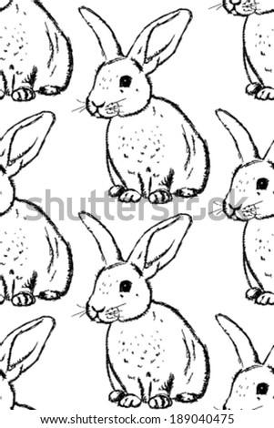 Sketch rabbit, vector vintage seamless pattern - stock vector