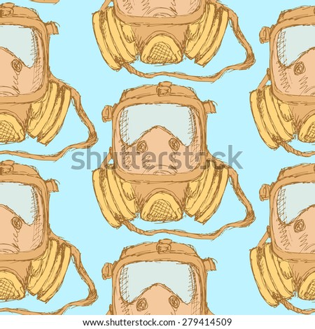 Sketch respiratory mask in vintage style, vector seamless pattern - stock vector