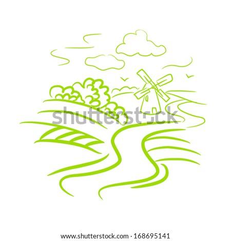 sketch rural landscape. vector illustration - stock vector