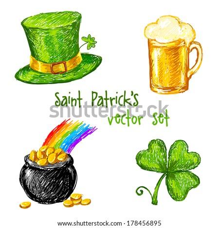 Sketch Saint Patrick day set, vector illustration - stock vector