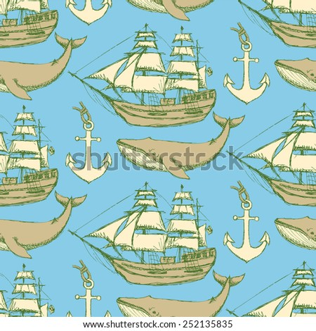 Sketch sea vintage style, vector seamless pattern