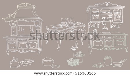 sketch set for a kitchen furniture in the old style - oven, extractor hood, sink, drawers, table, decorative items, pots, pans, vases, baskets -  against a dark background