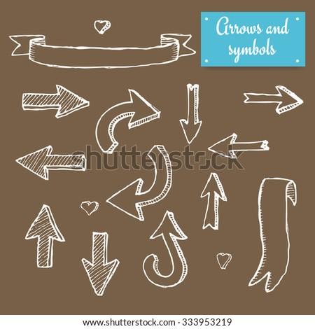 Sketch set of arrows in vintage style, vector - stock vector