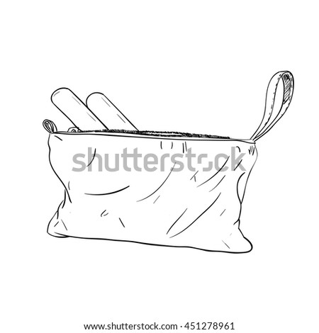 Sketch set of cosmetics for the care of nails in a handbag. Vector illustration - stock vector