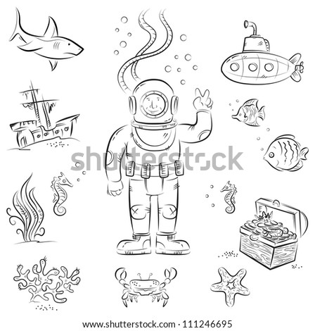 Sketch set of funny cartoon isolated objects on underwater diving theme - stock vector
