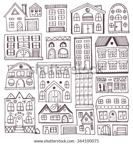 Sketch set of houses in doodle style. Vector illustration, Isolated on white background. - stock vector