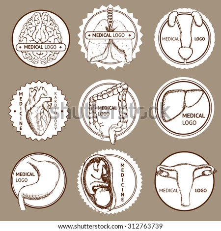 Sketch set of medical logotypes in vintage style, vector - stock vector