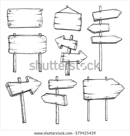 Sketch set of wooden signposts and signboards. Hand drawn  vector illustration. Isolated on white background.  - stock vector