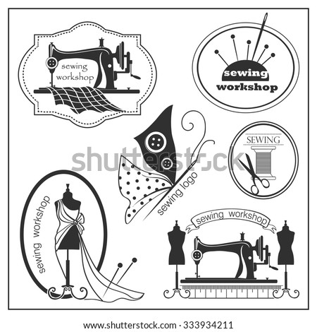 Sketch sewing lable and logotype in vintage style. Vector illustration. Logo. - stock vector