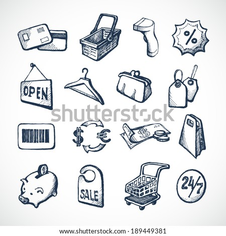 Sketch shopping icons set with plastic card money bags and tags isolated vector illustration - stock vector