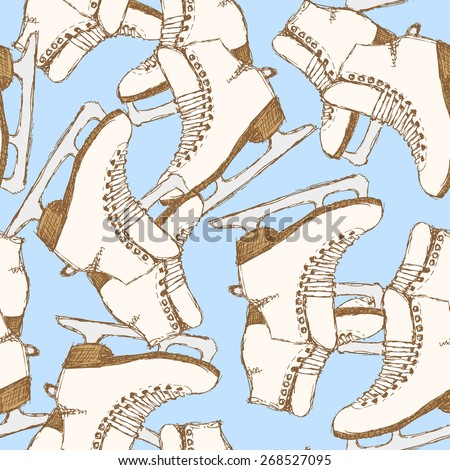 Sketch skating shoes in vintage style, vector seamless pattern - stock vector