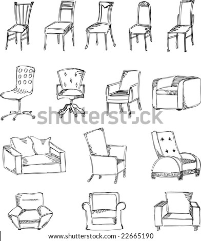 Sketch stools and chairs(Set 4) - stock vector