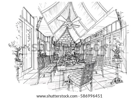 Sketch Streaks Dining Room Black And White Interior Design Vector