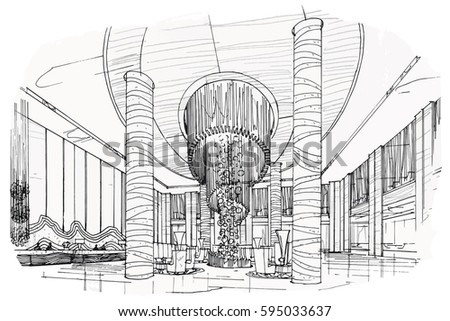 Furniture silhouette as well Sketch Perspective Interior Drawing Pen Pencil 645731365 likewise Opera House Concert Hall Floor together with Sketch Perspective Interior Hand Drawn Pen 657622207 moreover Sketch Streaks Lobby Hall Black White 595033637. on living hall decoration
