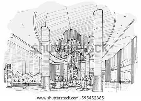 City hand drawn street sketch vector stock vector for Drawing hall interior decoration