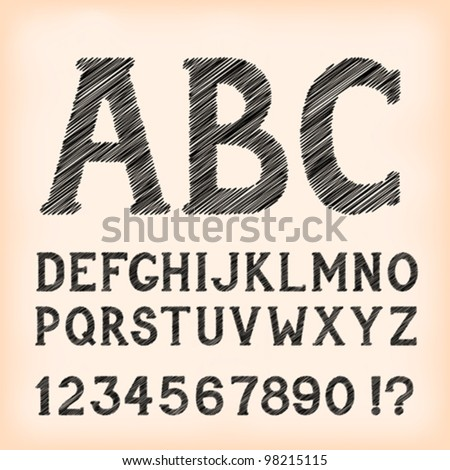 Sketch style alphabet with numbers and marks, based on my original hand-drawn font. EPS-8 - stock vector