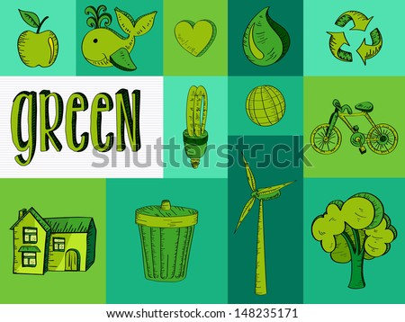 Sketch style Eco Friendly icon set. Vector file layered for easy manipulation and custom coloring.