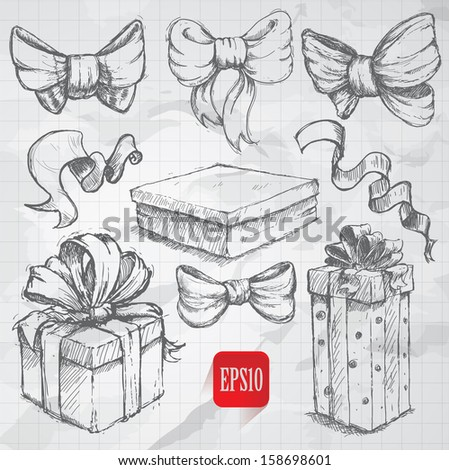 sketch style Gift boxes doodles on notebook background - stock vector
