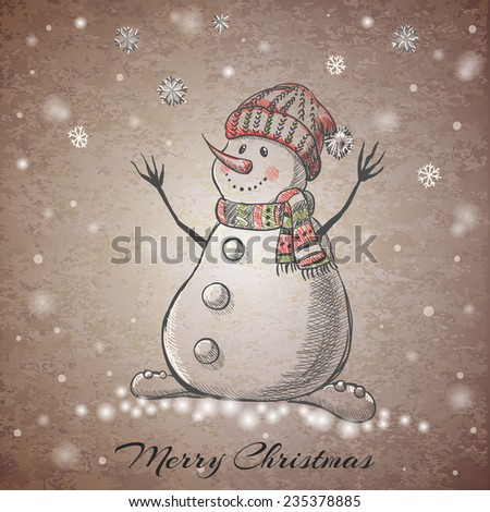 Sketch style hand drawn Snowman. Vector illustration - stock vector