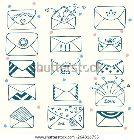 Sketch style mail, message or envelope. Hand drawn. Vector illustration - stock vector