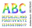 Sketch style rainbow alphabet with numbers and marks, based on my original hand-drawn font. EPS-8 - stock photo