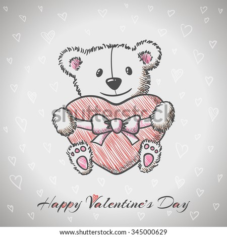 Sketch style Sketch style hand drawn Bear with heart. Vector illustration hand drawn Bear with heart