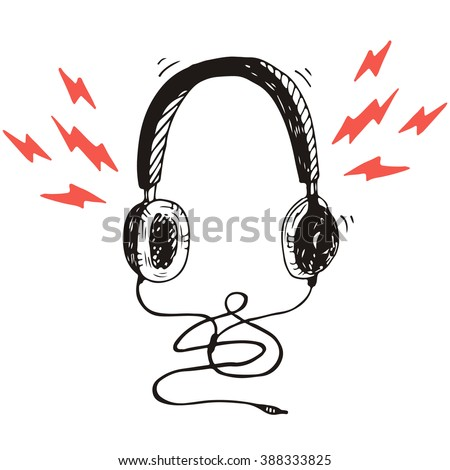 Sketch style vector headphones - stock vector