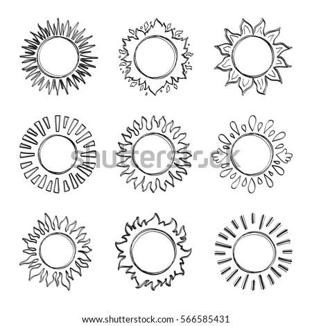 Sketch Sun Hand Drawn Sunshine Symbols Stock Vector Royalty Free