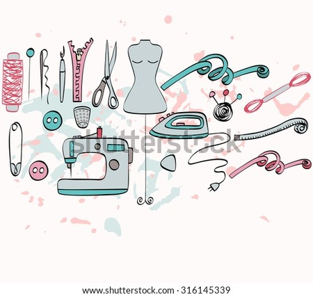 sketch  tailoring equipment, mannequin,  sewing machine. Hand drawn illustration - stock vector