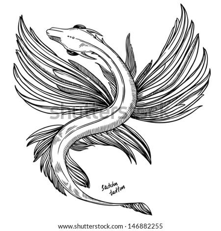sketch tattoo - fantastic flying dragon - stock vector