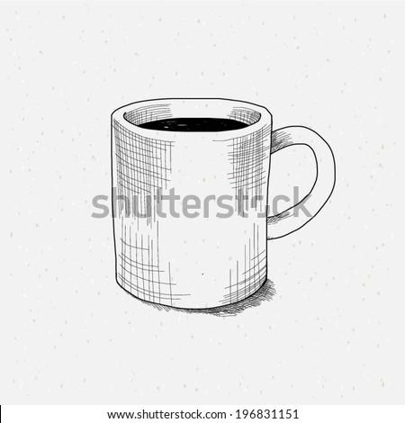 sketch tea cup. - stock vector