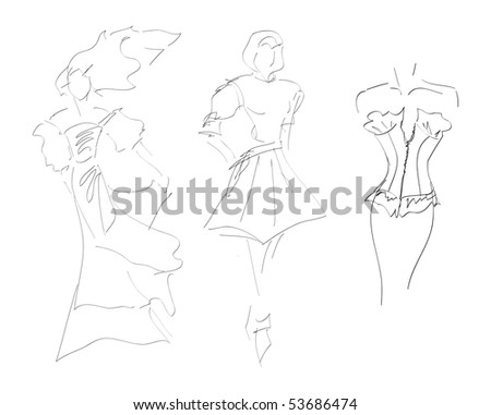 SKETCH. The vector beautiful girl on a white background - stock vector