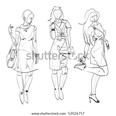 SKETCH. The vector beautiful girls on a white background - stock vector