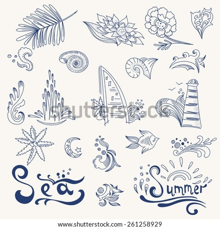 Sketch travel icons | Doodle style holiday signs for design with words sea and summer - stock vector