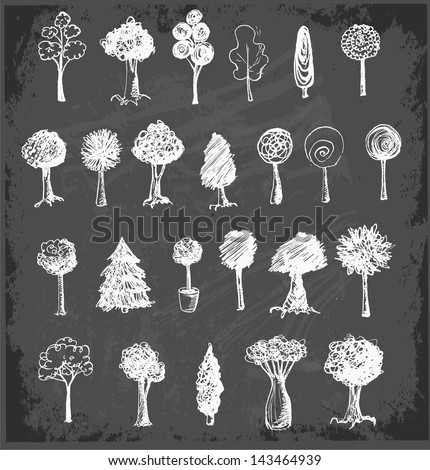Sketch trees collection on black chalkboard. Vector illustration. - stock vector