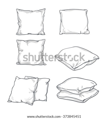 sketch vector illustration of pillow, art, pillow isolated, white pillow, bed pillow - stock vector
