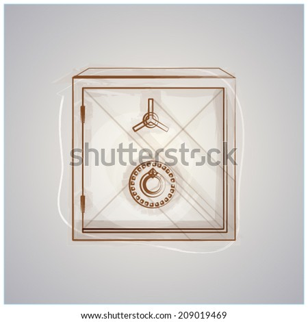 Sketch vector illustration of safe. Drawing of brown sketch safe. Isolated vector illustration on gray background. - stock vector
