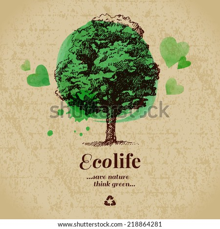 Sketch watercolor ecology poster. Hand drawn vector illustration - stock vector